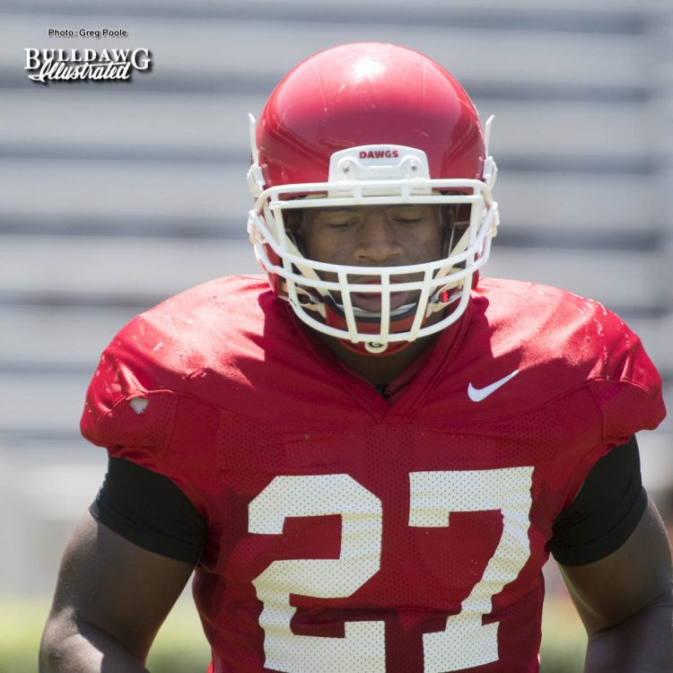 Nick Chubb - Practice No. 19, Scrimmage No. 2 - UGA Fall Camp - Saturday, August 19, 2017