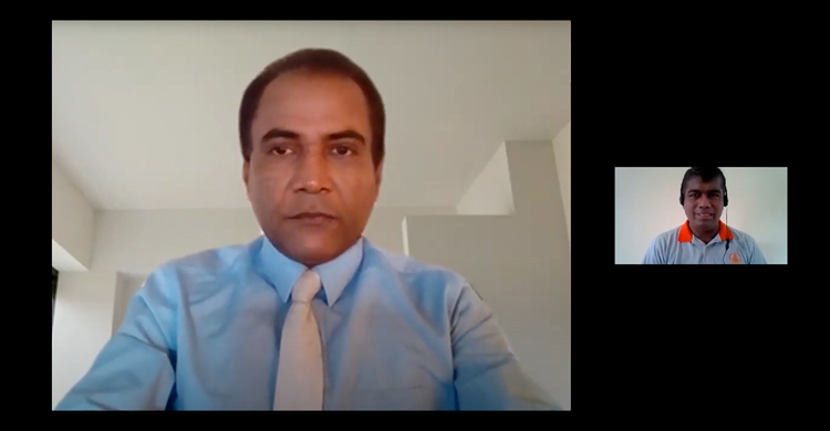 Dr. Premasiri Gamage - Senior Visiting Lecturer, Management Consultant and International Trainer (left) and Programme Moderator Madhawa Rathnayake, Manager - Learning & Development, Sampath Bank PLC conducting the first webinar.