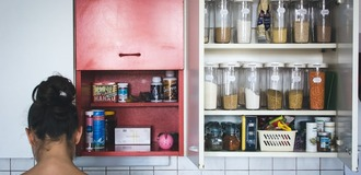 Cabinet pantry foodiesfeed.com home vintage kitchen listing