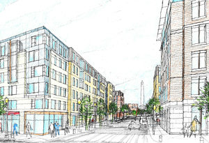 One charlestown bunker hill public housing redevelopment project mixed income residential apartments retail corcoran jennison associates suncal stantec rendering