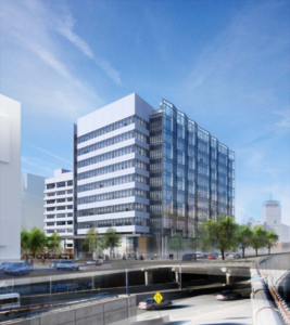 Proposed office building as seen from westbound massachusetts turnpike on ramp