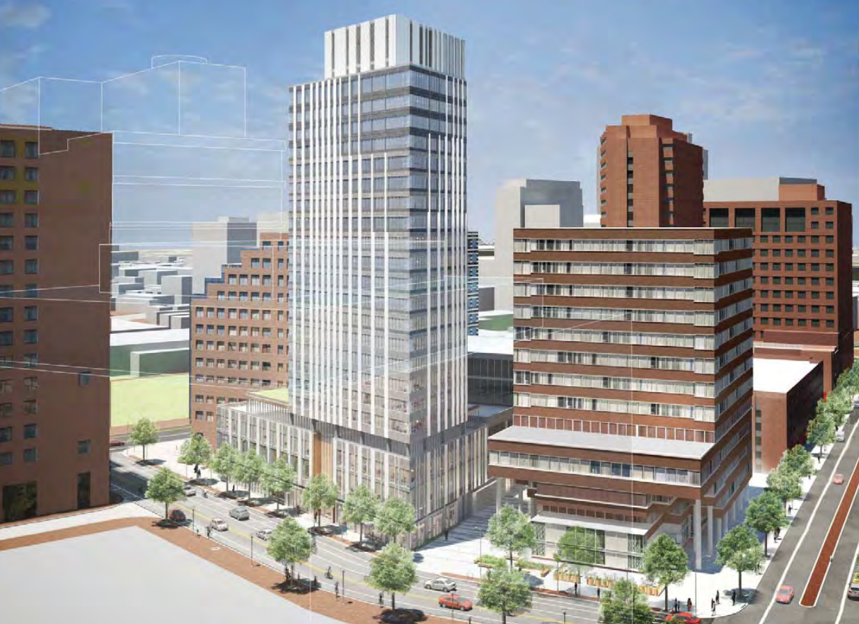 88 ames street kendall square cambridge residential retail tower development boston properties john moriarty assocaites j derenzo companies construction fxfowle architect rendering