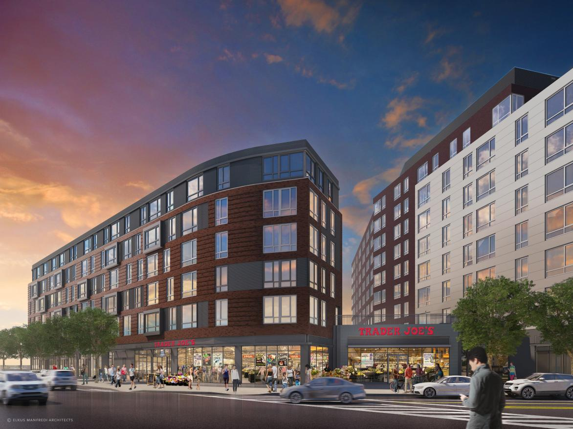 Continuum allston mixed use development apartments retail trader joe's supermarket franklin restaurant group our father's deli samuels associates