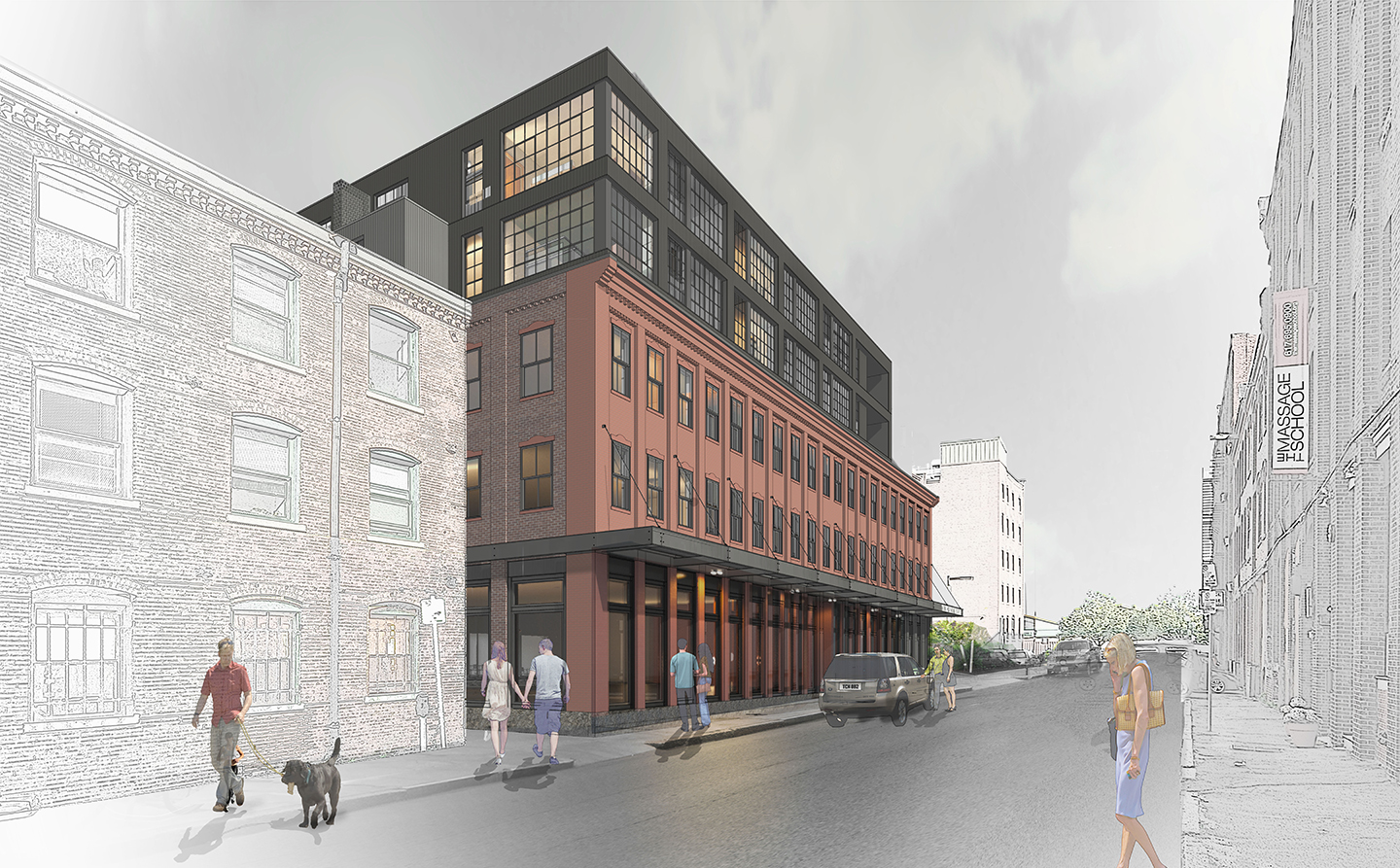 The factory at 46 wareham street south end boston real estate office development construction preservation project the holland companies hacin associates architectural rendering