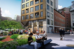 Boulevard on the greenway financial district downtown boston luxury residential condominiums retail new boston ventures development project commodore builders walsh brothers j derenzo companies construction finegold alexander architects rendering