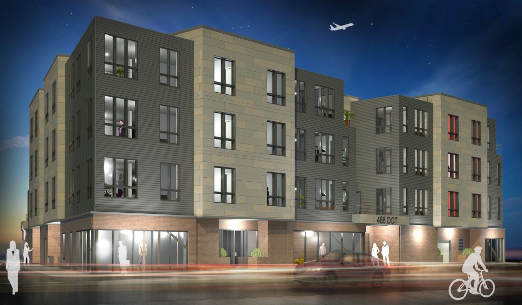 488 dot dorchester avenue andrew square mbta red line south boston southie luxury condo condominum retail development construction project r b investments trinity green russell design associates capone architecture rendering