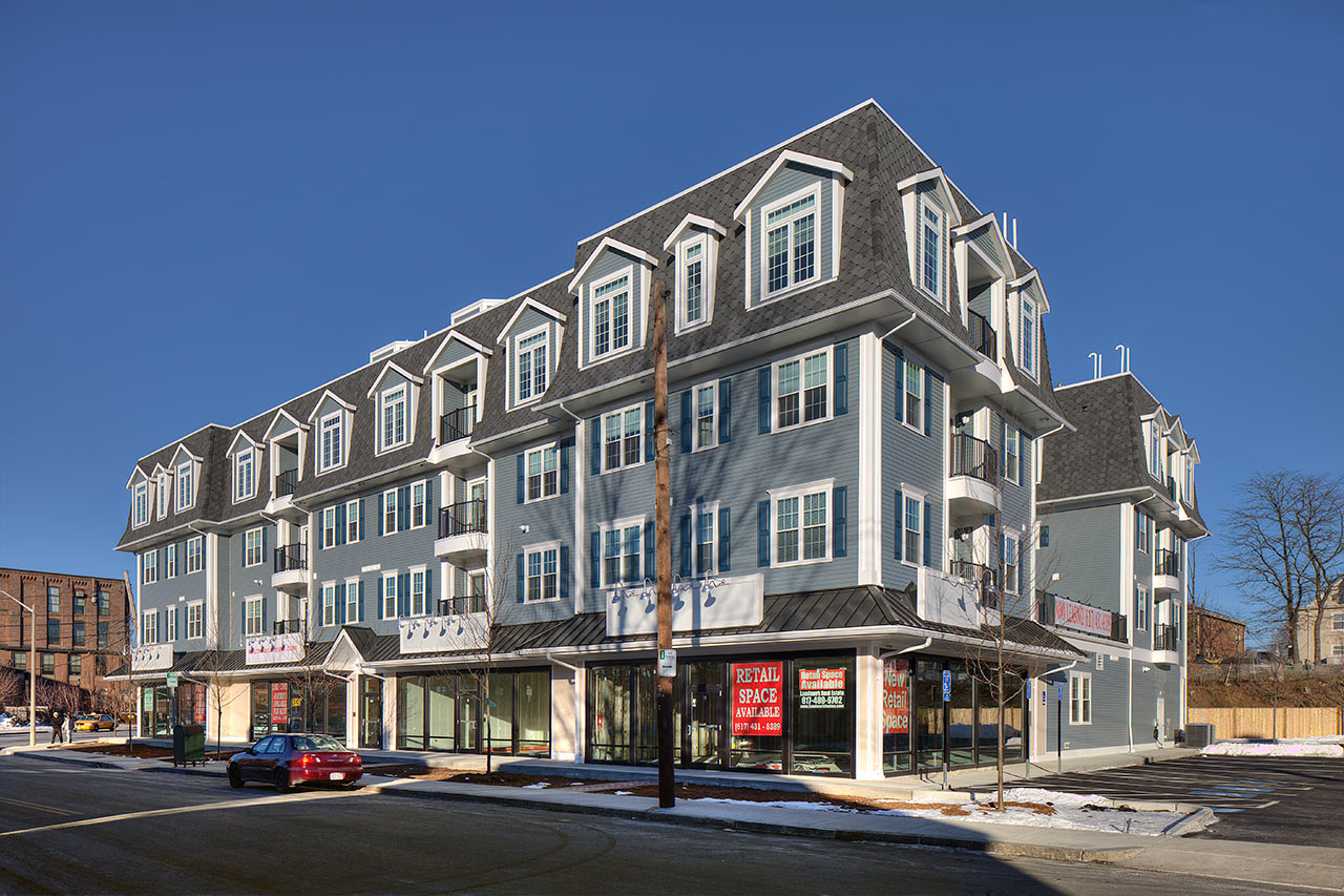 Waltham landing apartments residential retail mbta commuter rail landmark boston development project tocci building companies costa architects