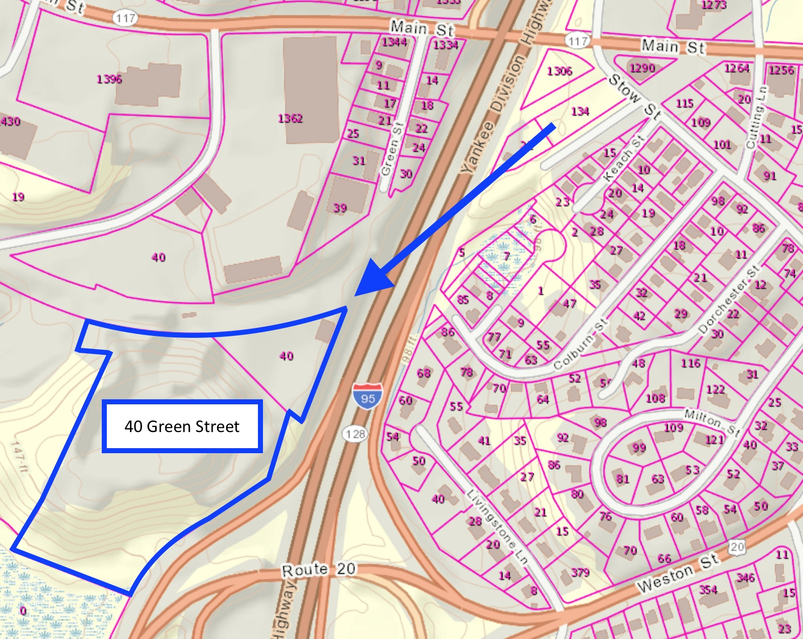40 green street development site route 128 used auto parts office space hobbs brook management