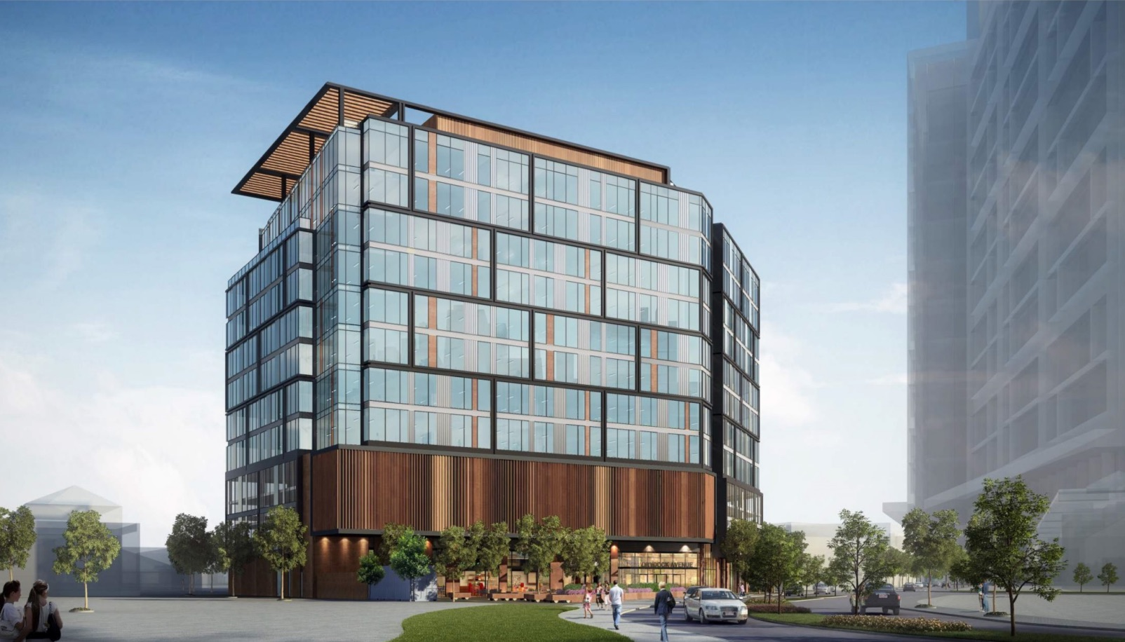 Parcel q1 boston marine industrial park seaport district boston proposed office retail building development skanska sga architectural rendering