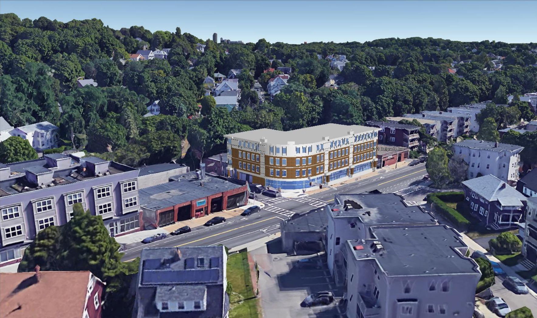 317 belgrade avenue roslindale west roxbury proposed residential retail building development bellevue mbta commuter rail helm residential nunes trabucco architects