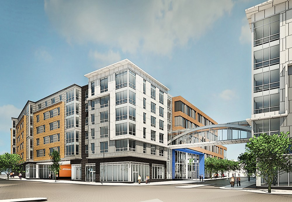 Jefferson at malden center mixed use transit oriented development mbta orange line commuter rail apartments retail city hall office space