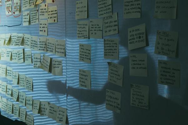 Many notes on a wall