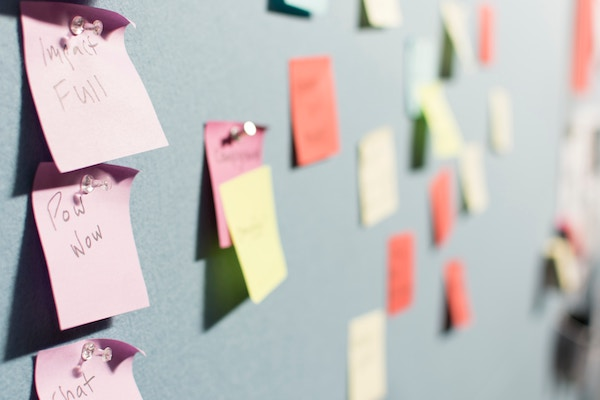 Sticky notes on a wall