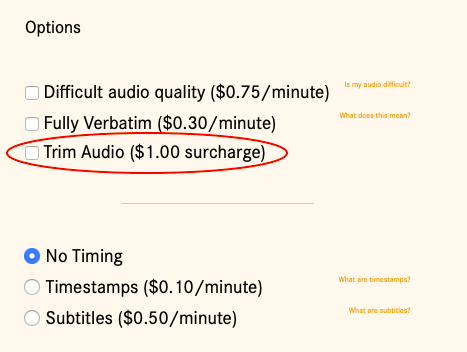 Screenshot of 'Trim Audio,' listed with the other upgrades