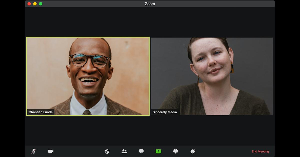 Screen shot of a Zoom meeting between two people