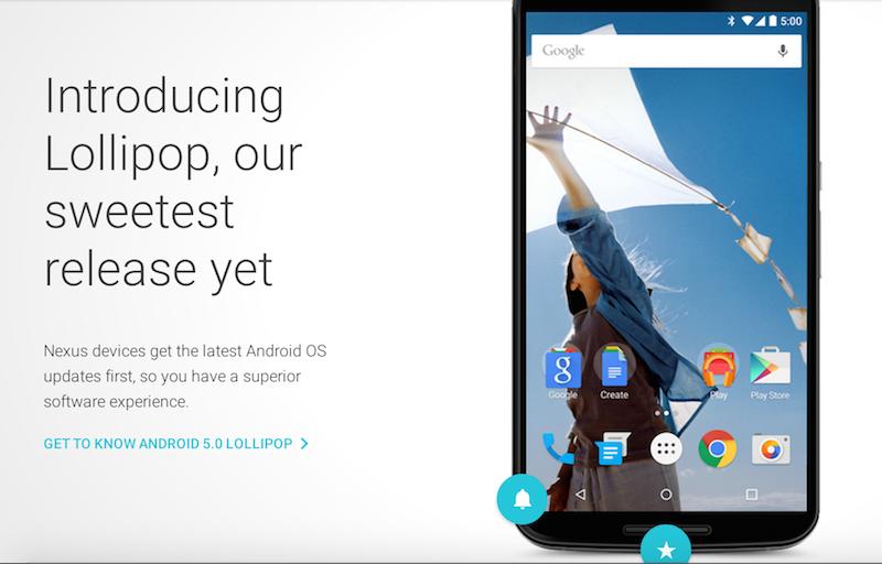 Screenshot from Google Nexus 6 landing page.