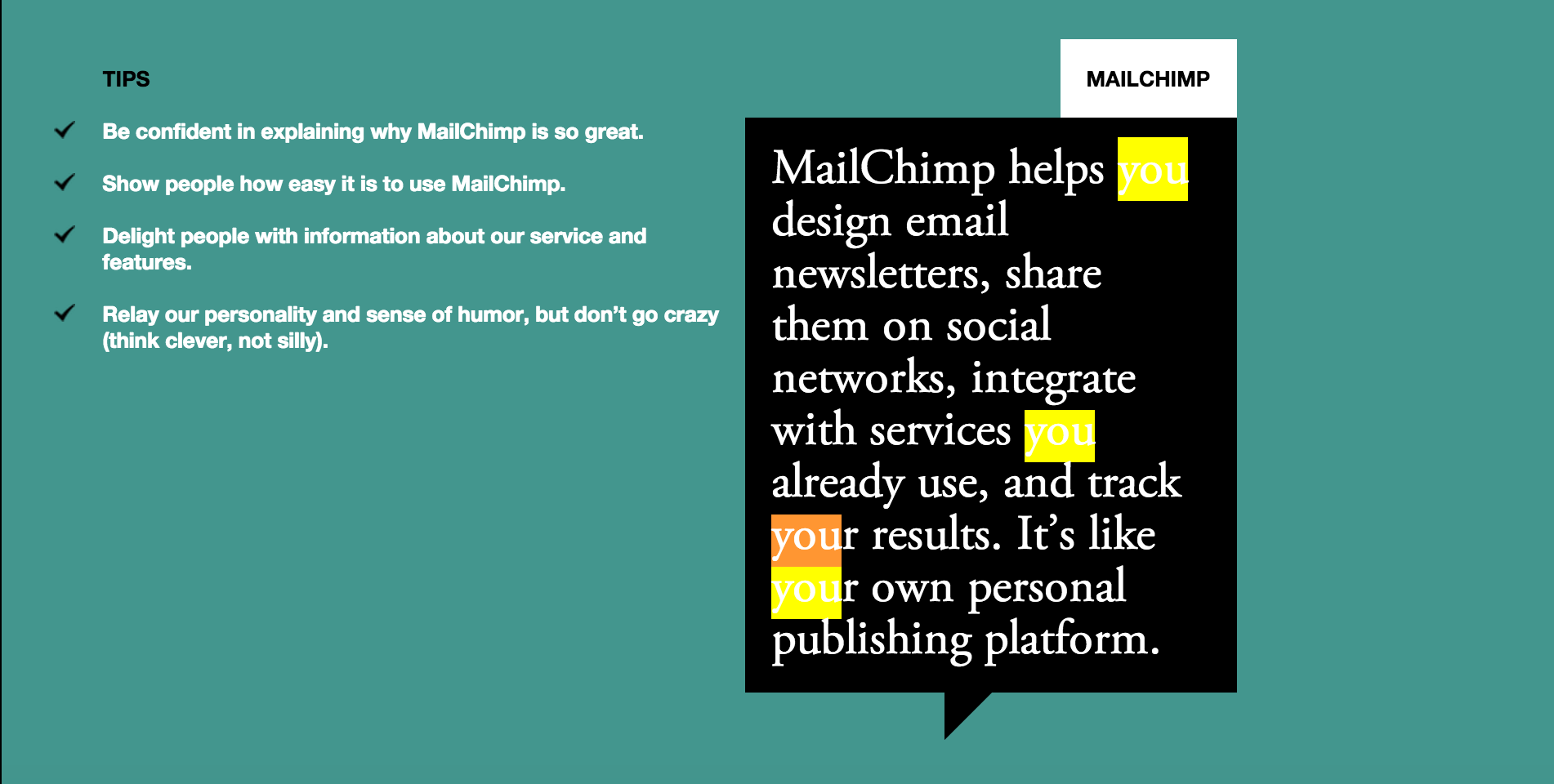 Screenshot from MailChimp's Voice & Tone website