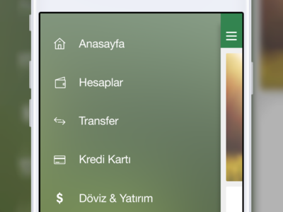 x Bank iOS Left Menu by Sercan Yavasoglu