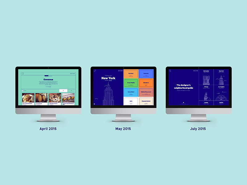Landing page evolution since April: from neighborhood to city to world.