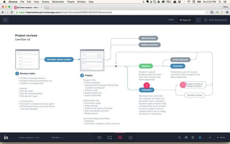 Reviewing user flow in InVision.
