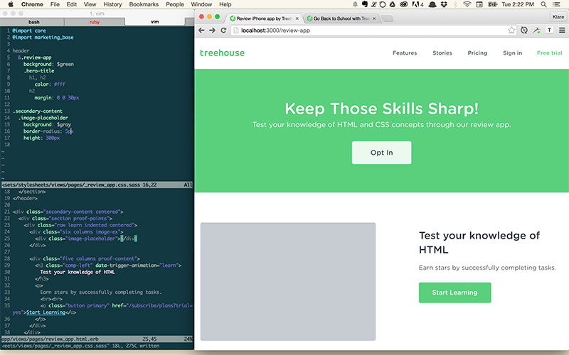 Working on a Treehouse landing page.