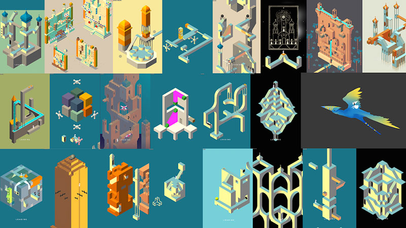 Monument Valley worlds as works in progress.