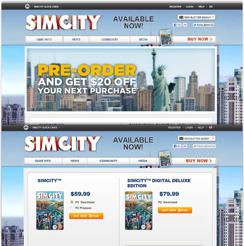 Sim City 5 launch for EA. For the launch of Sim City 5, EA experimented with its order page and showed how an alternative design could increase conversion by 43%.