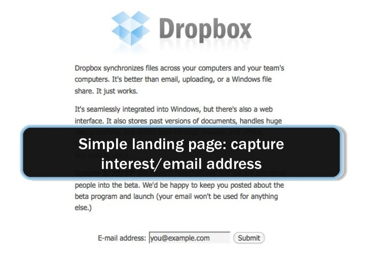 Dropbox's original landing page.
