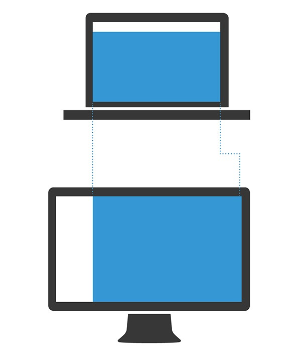 The content area of a website stays almost the same width between laptop and large desktop layouts when using a left-hand navigation.