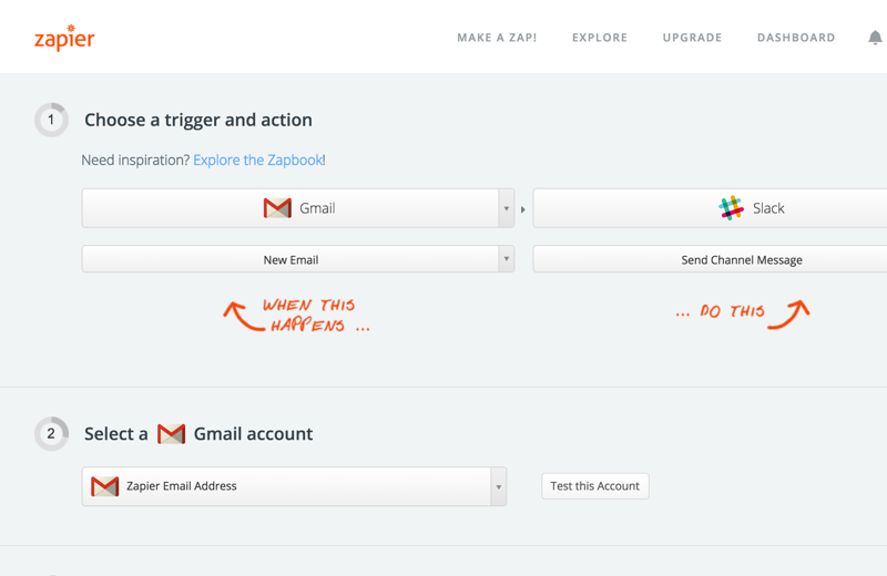 Zapier's legacy 2-step Zap editor.
