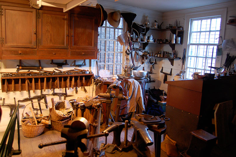 A recreated furniture workshop in Colonial Williamsburg.
