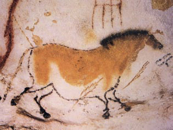 Cave painting of a horse at Lascaux.