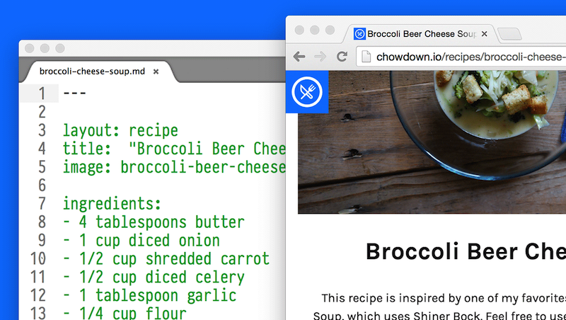 Chowdown in a single image. On the left: a plaintext Markdown file. On the right: the resulting recipe page, with photos and a nice layout.
