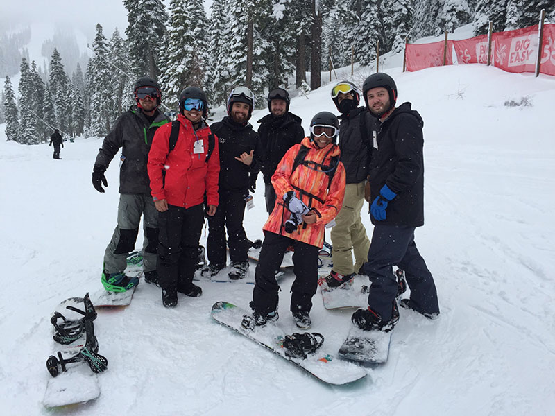 New friends and first-time snowboarders at the Montues event in Tahoe.