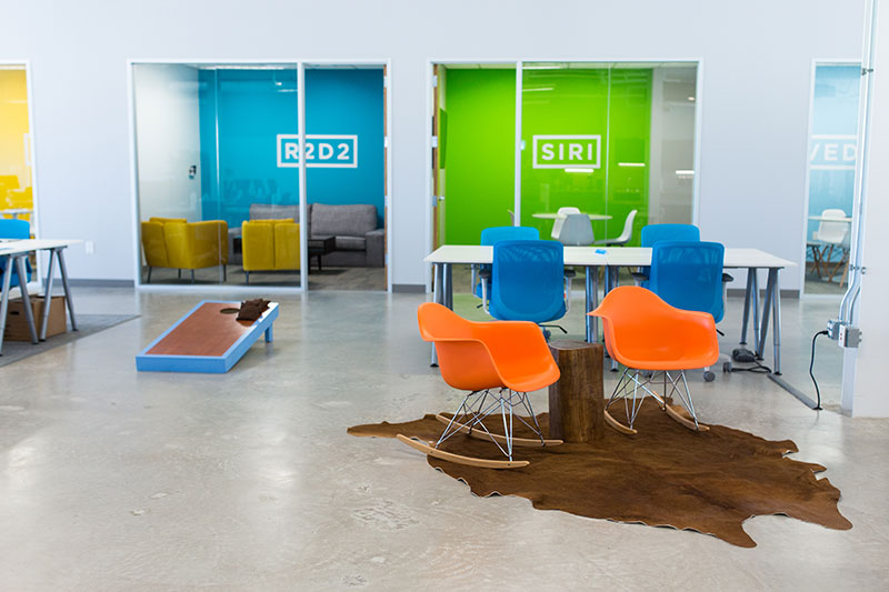 The Favor team collectively brought pixels to life when they collectively designed out the new Favor HQ.  The space was designed to feel like the company was working in the brand.  Meeting rooms (named after famous personal assistants) use the extended color palette used in our digital projects to the real world.