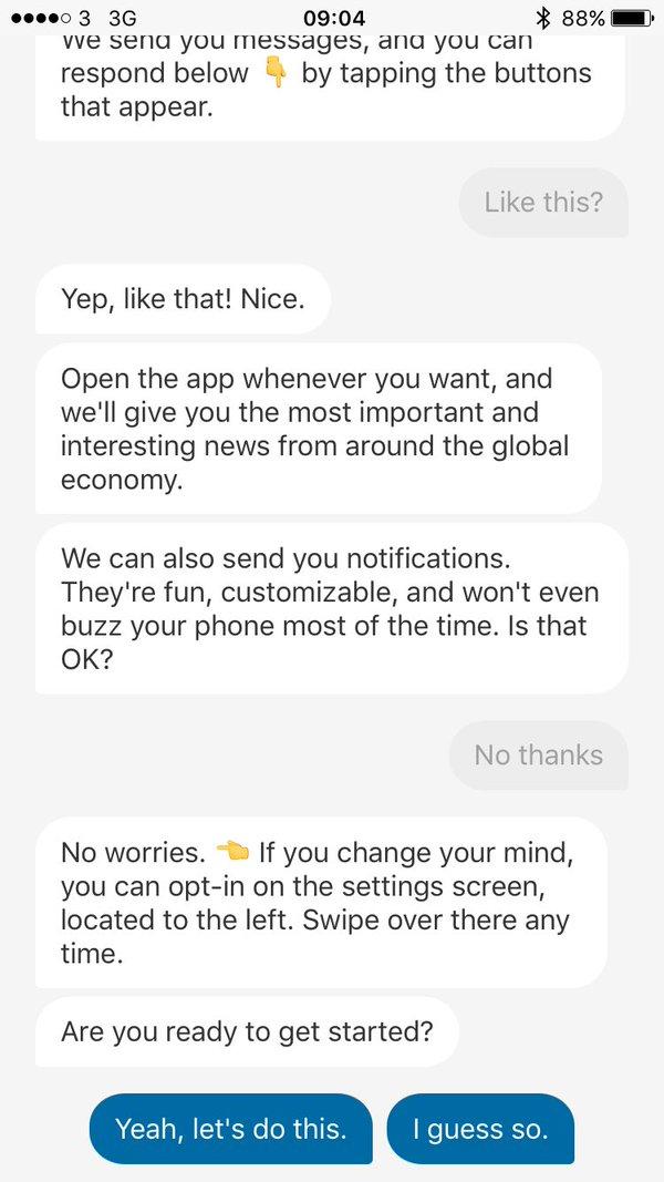 Screenshot of the QZ app.