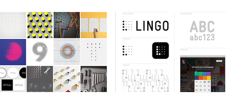 Like a craftsman's pegboard, Lingo presents your tools to be readily used. It's informed by a strong grid with amazing creative potential. It adapts to how a team works to optimize functionality. When varied in size, the dots of a pegboard act as halftone and from afar, represent something much larger and complex than any single dot or any single element.