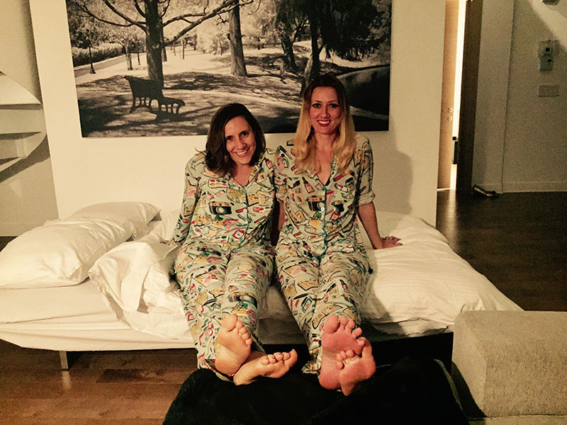 We have a lot of meetings in our matching pajamas while drinking coffee in our shared Airbnbs.