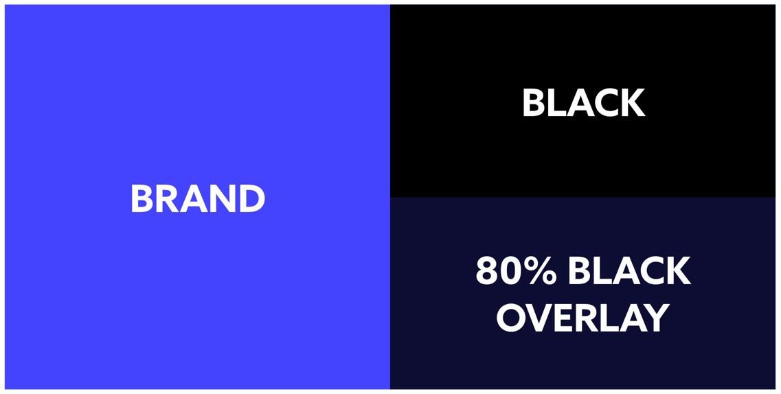Take your brand color and put an 80–90% black square over it. Color drop this as your base black. It's subtle, but it will make a difference! The one in the bottom right is what I would use.