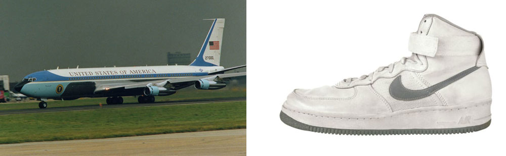 Left: The Boeing 707 SAM 27000 (call sign Air Force 1) that served as the primary presidential aircraft from the Nixon to the Reagan administrations. Right: Nike Air Force 1 sneakers, 1982.