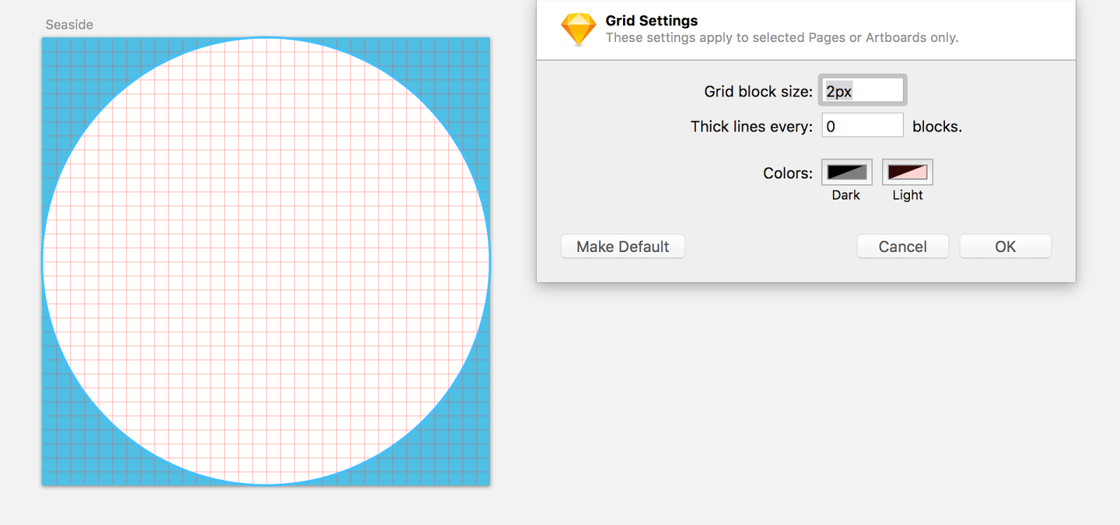 Fig. 10.2: The base for every icon is a circle, which also acts as a mask. A 2-pixel grid makes sure that all elements are placed on full pixels.