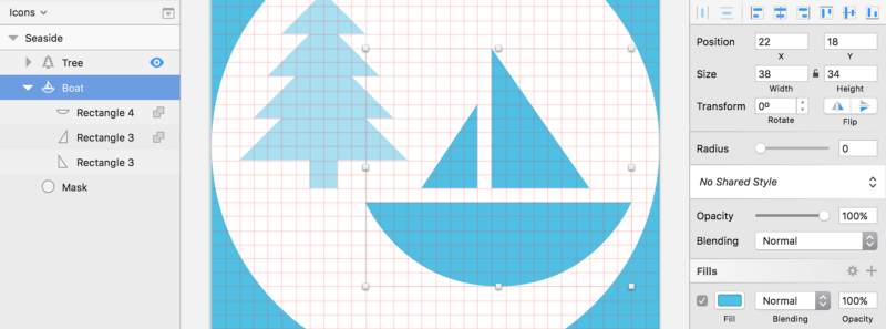 Fig. 10.4: The boat marks the second element of the icon. I've temporarily reduced the opacity of the tree to highlight the boat shape.