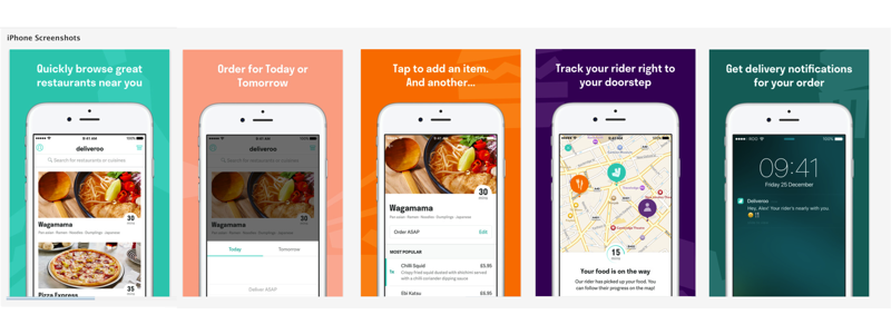 Think about Deliveroo's App Store screens. Isn't this what you've always wanted from a food delivery app? They're spot on in presenting the benefits of the app.