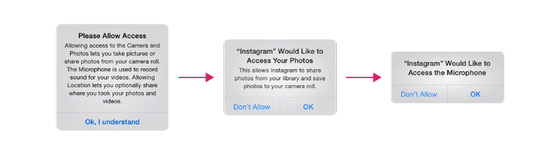 Instagram does a great job explaining the benefits of allowing access to photos and the microphone beforehand.