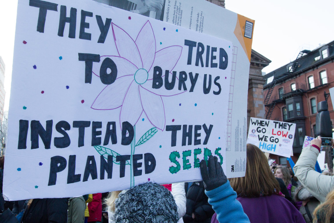 sign reading: they tried to bury us instead they planted seeds