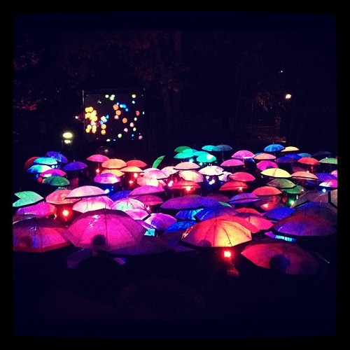 Glowing umbrellas at PopTech 2012