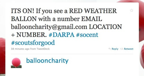 Balloon Charity tweet