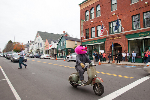 pink monster on a bike