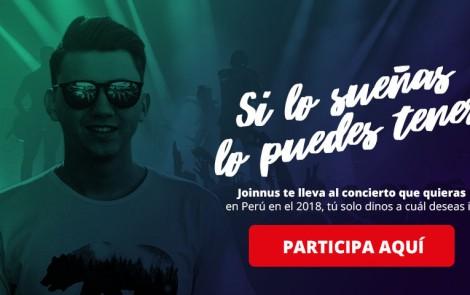 Condiciones legales del concurso: Joinnus te lleva al concierto que quieras en el 2018