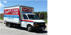 "Here at Campbell Plumbing when you call you ""Talk Directly to the Plumber"" that will be coming to your home. This is a picture of our truck that we bring to every job. The benefit to this truck is we stock nearly every part your home could need."